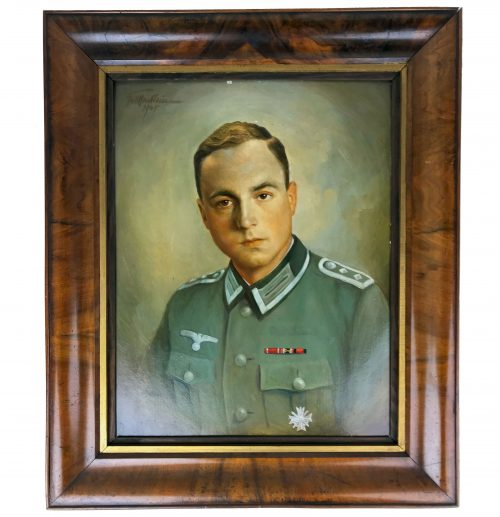 Large Original painting of a Wehrmacht (heer) Soldier with KVK1 and ribbonbar