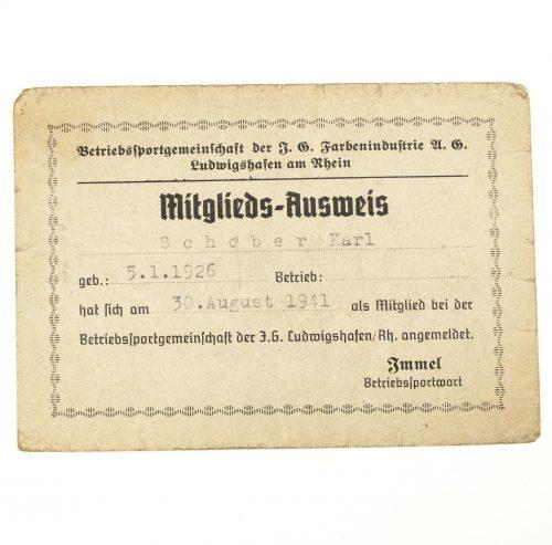 Mitgliedsausweis der Betriebssportgemeinschaft der I.G. Farbenindustrie 1941