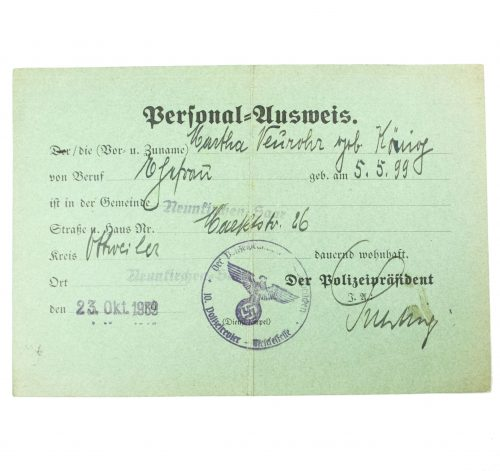 Personal-ausweis (issued by the German police in Neunkirchen in the Saar)