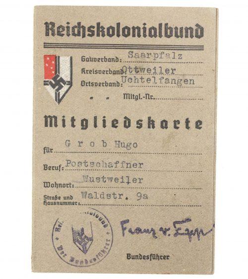 Reichskolonialbund Mitgliedskarte