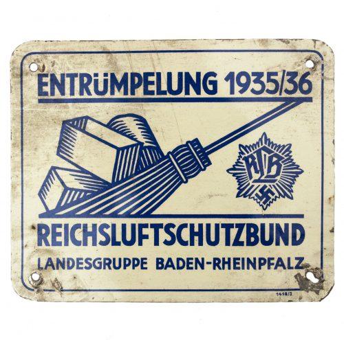 Reichsluftschutzbund Landesgruppe Baden-Rheinpfalz Entrümpelung 1935/36 plaque
