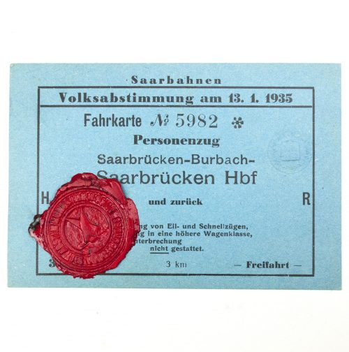 Saar pass for the Volksabstimmung am 13.1.1935 Saarbahnen