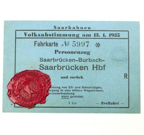 "Saar pass for the ""Volksabstimmung"" on 13.1.1935 Saarbahnen"