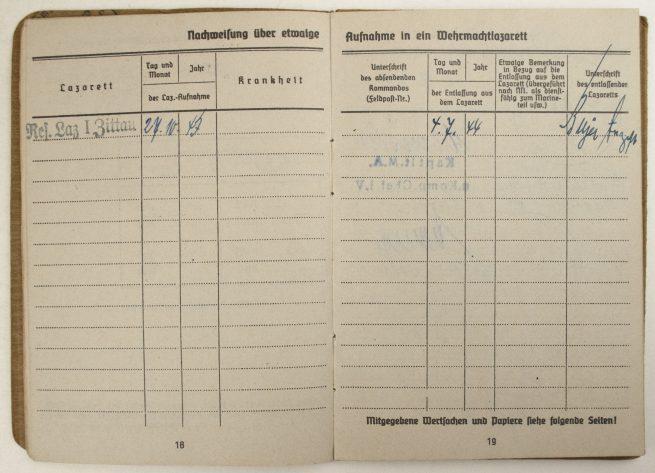 Soldbuch Kriegsmarine 2. Marine-Landesschützenkompanie Festungswachabteilung Kiel