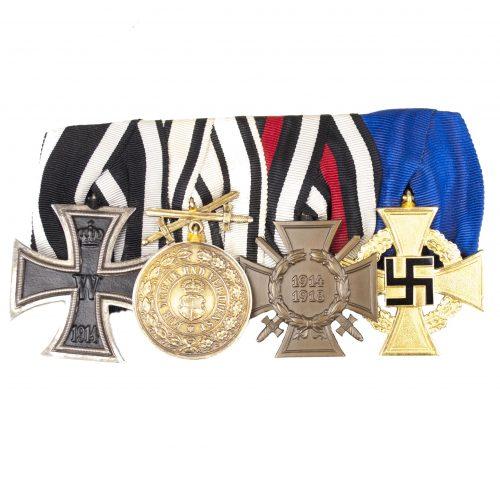 WWI Ordenspange / Medalbar with EK2, Hohenzollern Verdienstmedaille, FEK, Treue Dienste 40 jahre