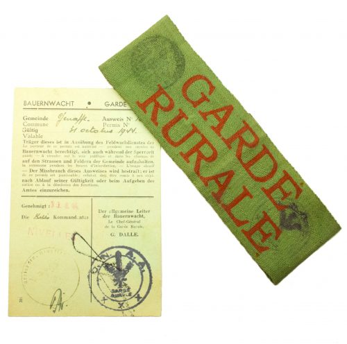 WWII Flemish Garde Rurale armband and accompanying wearing permitment card