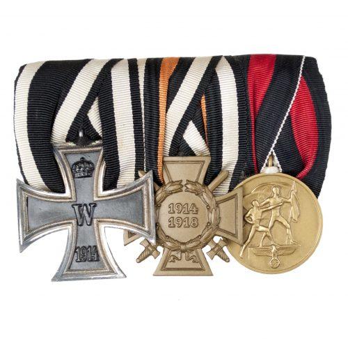 WWII German Medalbar with Iron Cross, Frontkämpfer Ehrenkreuz and Sudetenland Annexation medal