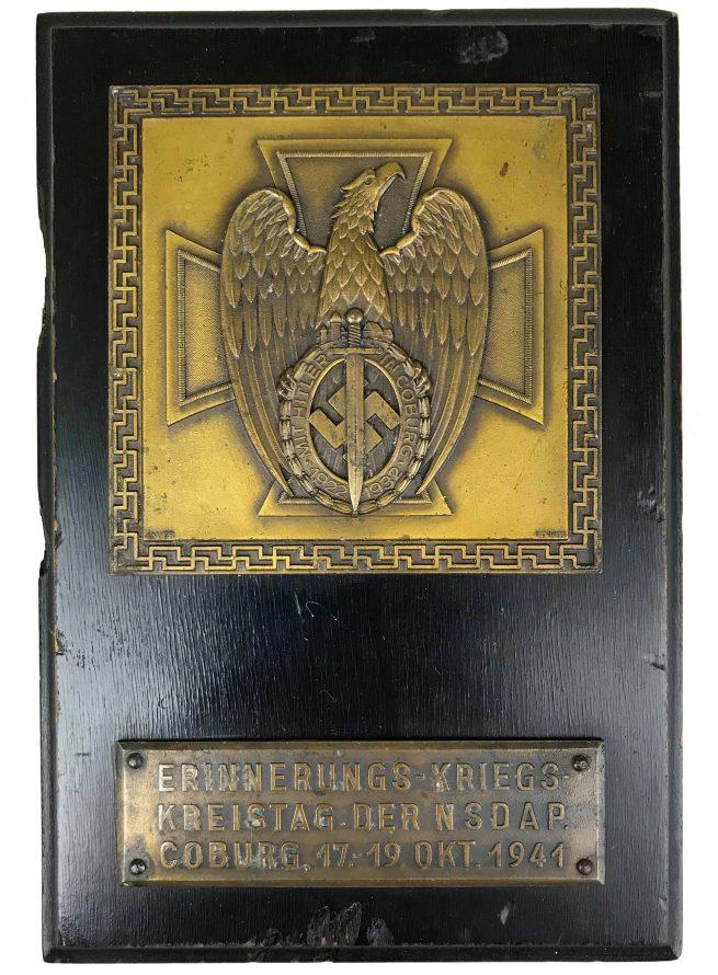 Coburg badge commemorative plaque 1941