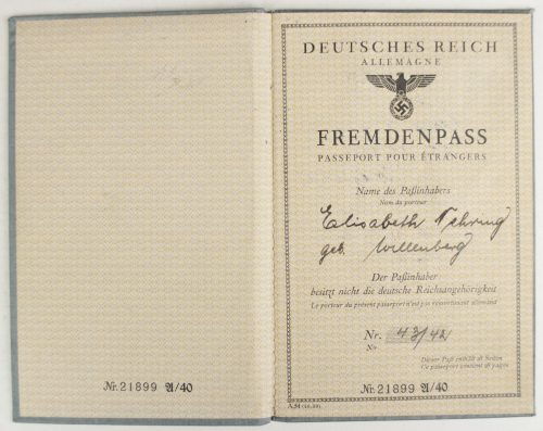 Deutsches Reich Fremdenpass with Passphoto
