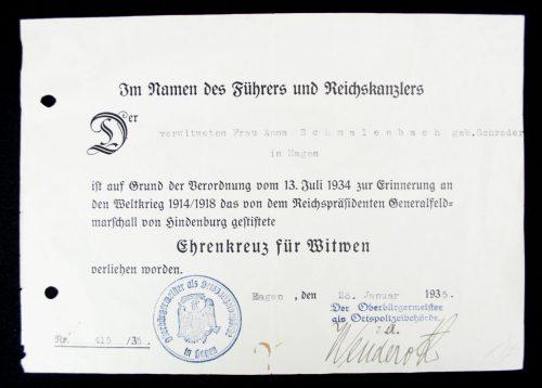 Ehrenkreuz für Witwen + Urkunde (citation)