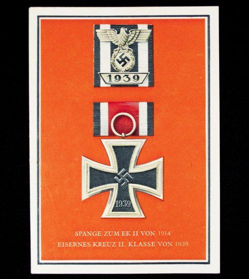 German WWII Postcard, Postcard: Die Kriegsorden des Grossdeutschen Reiches - Eisernes Kreuz II. Klasse / Spange zum EKII.
