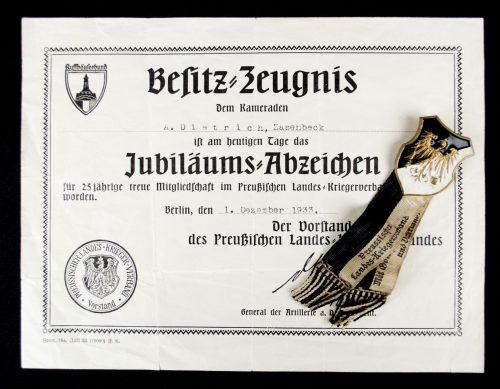 Preussischer Landeskriegerverband citation + Frontkämpfer Ehrenkreuz urkunde + both medals