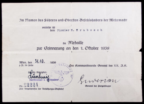Sudetenland Annexation medal 2 citations (Medaille zur Erinnerung an den 1. Oktober 1938)