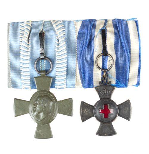 WWI-Bavaria-medalbar-with-König-Ludwig-Kreuz-Dienstauszeichnung-für-freiwillige-Krankenpflege