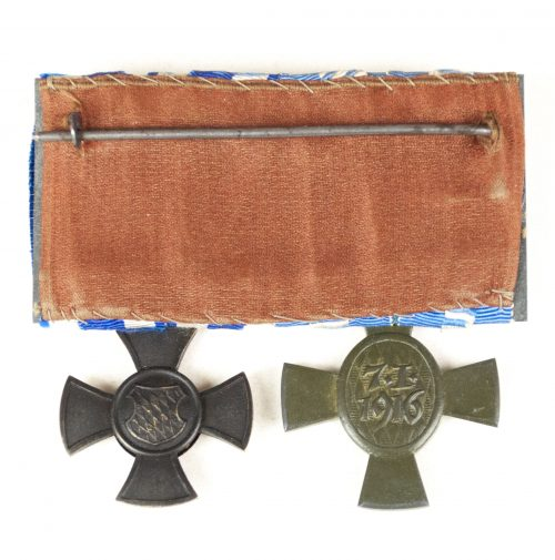 WWI Bavaria medalbar with König Ludwig Kreuz + Dienstauszeichnung für freiwillige Krankenpflege