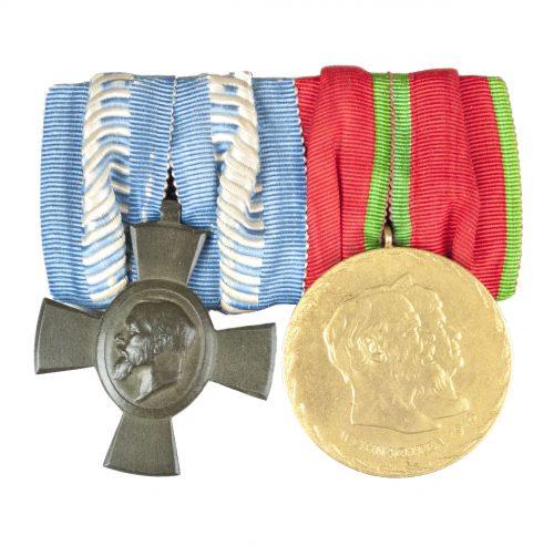 WWI Bavaria medalbar with König Ludwig Kreuz + Goldene Hochzeits medaille 1918