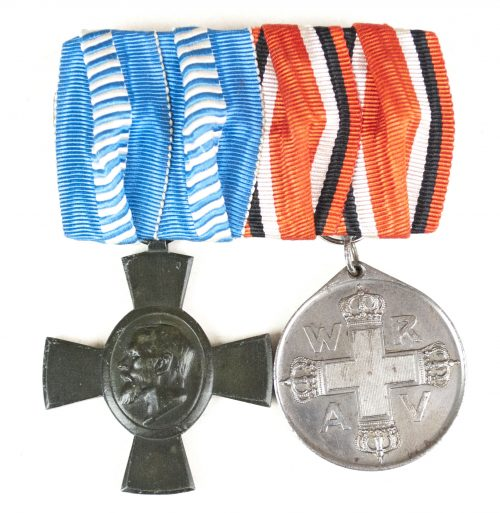 WWI Bavaria medalbar with König Ludwig Kreuz + Rote Kreuz Medaille 3.Klasse 1898