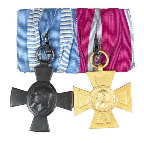 WWI Bavaria medalbar with König Ludwig kreuz + Luitpoldkreuz 40 Jahre im Staats- und Gemeindedienst