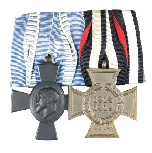 WWI Bavaria medalbar with König Ludwig kreuz + Nichtkämpfer Ehrenkreuz