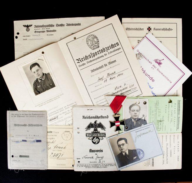 WWII Reichsnährstand Ausweis + DRL booklet + Austrian medals grouping