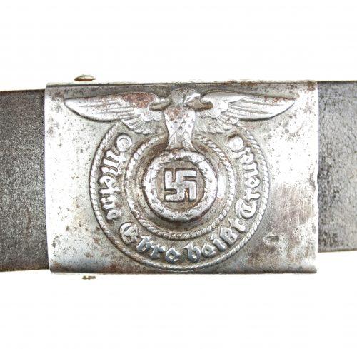 Waffen SS Steel Buckle + Belt (RZM 155/43 ᛋᛋ)