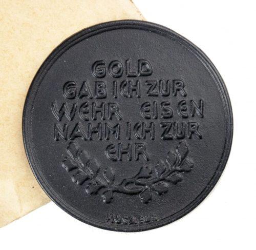 """""""Gold gab Ich Für Eisen"""" non portable medal with enveloppe (Stone Mint!)"""