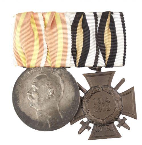 Baden medalbar with Baden Verdienstmedaille + Frontkämpferkreuz