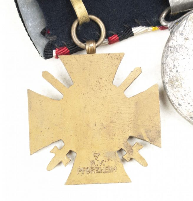 Baden medalbar with Iron Cross, Baden Verdienstmedaille + Frontkämpferkreuz