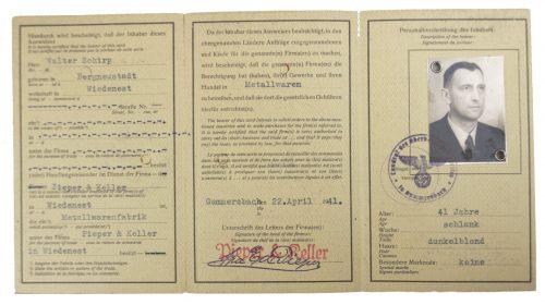 Deutsche Reich Gewerbelegitimationskarte with passphoto (1941)