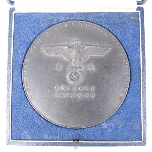 Deutsche Reichsbahn plaque - 100 Jahre Eisenbahn im Schlesien Breslau 22.V.1942