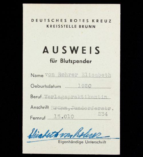 Deutsches Rotes Kreuz (DRK) Kreisstelle Brünn Ausweis für Blütspender