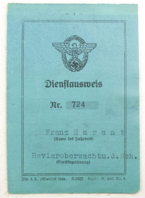 Police / Polizei Dienstausweis + rare leather map + photo's