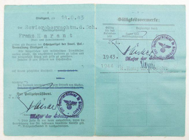 Police / Polizei Dienstausweis + rare leather map + photo's