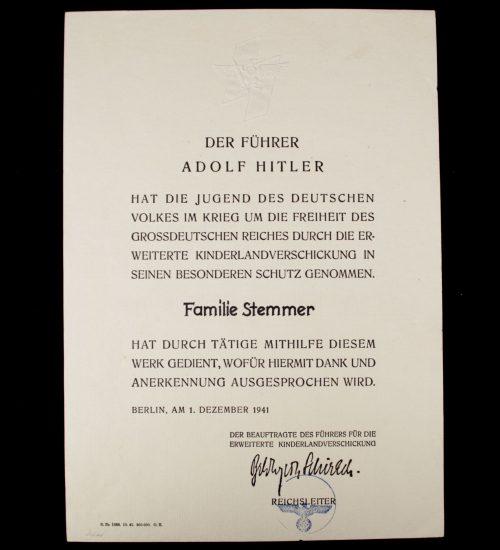 """Anerkennung Urkunde """"Kinderlandverschickung"""" (citation)"""
