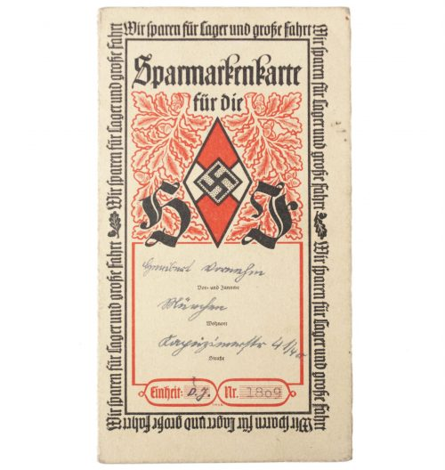 Hitlerjugend (HJ) Sparmarkenkarte with contributionstamps