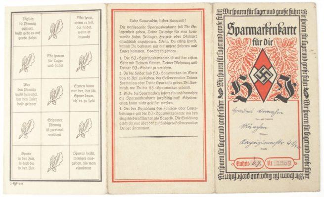 Hitlerjugend (HJ) Sparmarkenkarte with contributionstamps