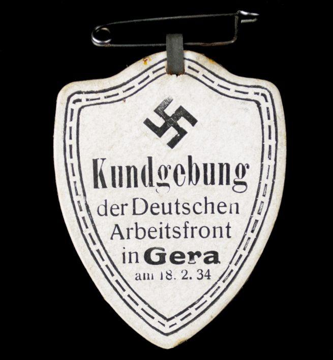 Kundgebung der Deutschen Arbeitsfront in Gera am 18.02.1934 abzeichen