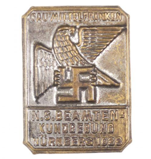 N.S. Beamtenkundgebung Nürnberg 1933 Gau Mittelfranken abzeichen