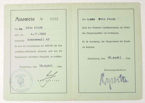 NSDAP Kreis Duisburg Ausweis (1940)