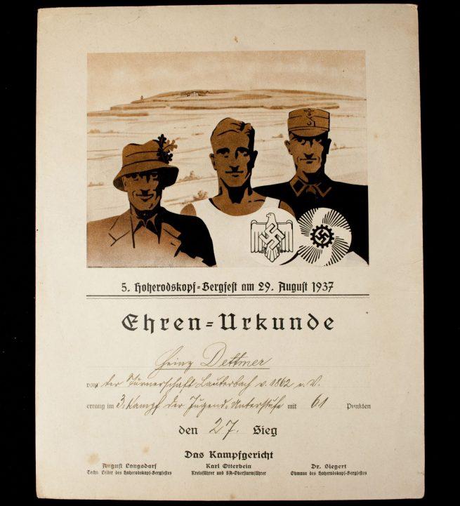 NSRL/KDF sports citation 5. Hoherodskopf-Bergfest 1937