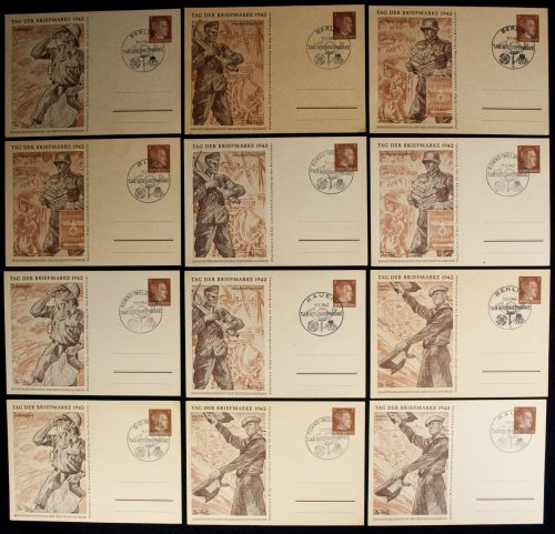 Postcard: Tag der Briefmarke 1942 complete series with special Ostland and Ukraine stamps