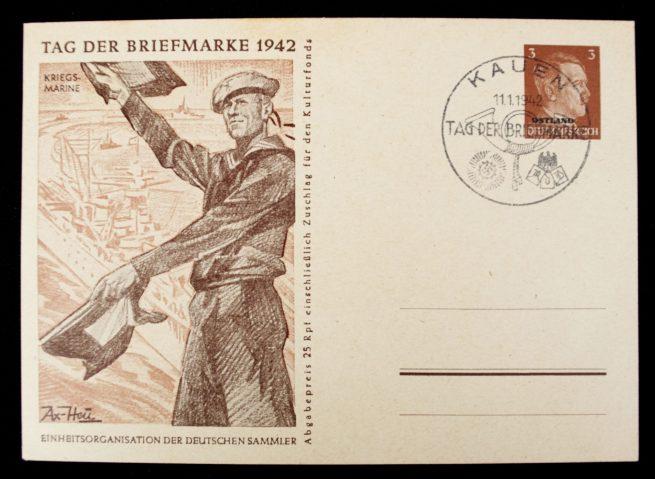 Postcard: Tag der Briefmarke 1942 complete series with special Ostland and Ukraine stamps