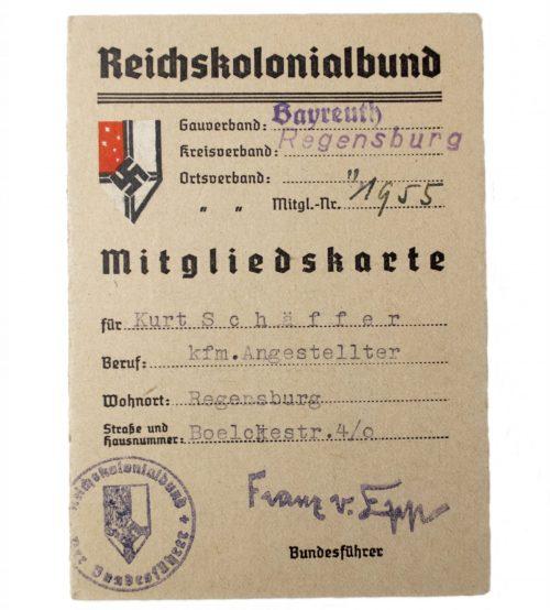 Reichskolonialbund Mitgliedskarte from Regensburg