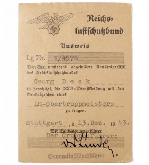 Reichsluftschutzbund (RLB) ausweis with passphoto from Stuttgart