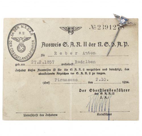 SA Reserve II der NSDAP Ausweis + memberpin from a 87 year old man!