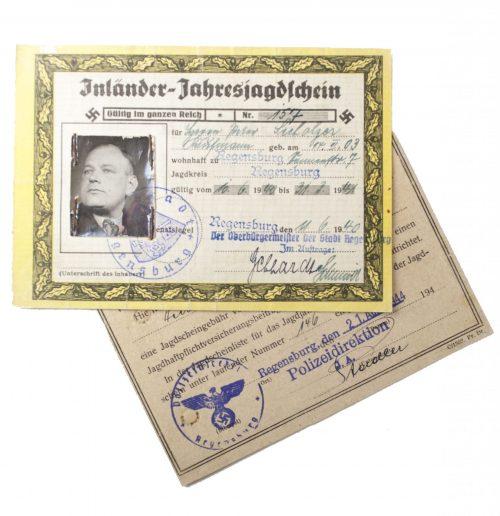 WWII - 2x Jahresjagdschein 1940/1941 and 1944/1945