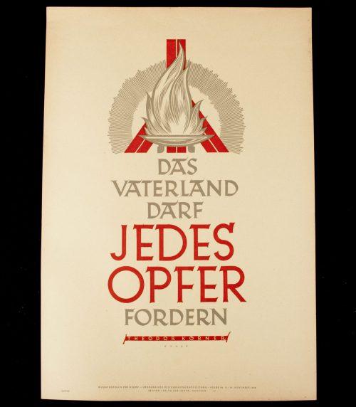 WWII German NSDAP Wochenspruch (propaganda miniposter) – Das Vaterland/Theodor Körner