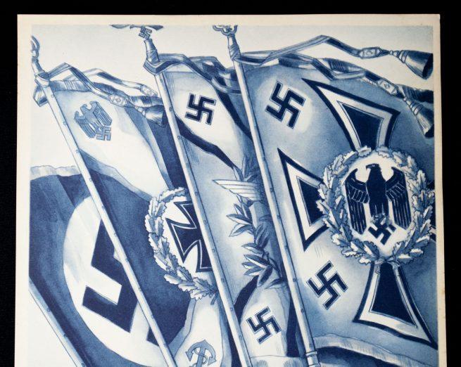 WWII German NSDAP Wochenspruch (propaganda miniposter) – Fahnen und Standarten