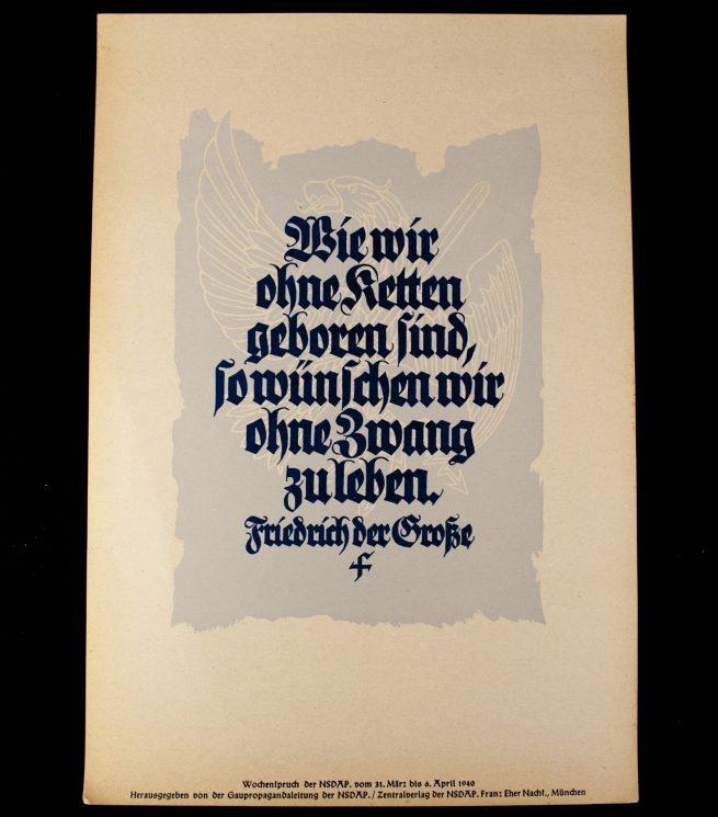 WWII German NSDAP Wochenspruch (propaganda miniposter) – Friedrich der Grosse
