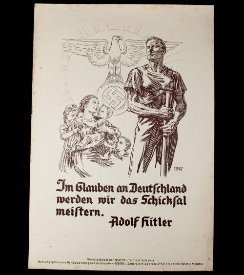 WWII German NSDAP Wochenspruch (propaganda miniposter) – Glauben an Deutschland/Adolf Hitler